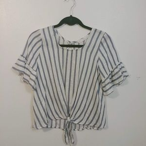 Ruffle sleeve striped blouse with tie-front